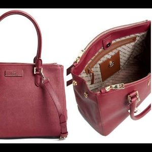 DKNY Red Saffiano Leather Large Work Shopper Bag